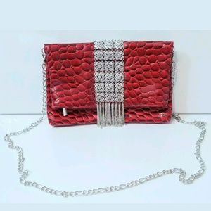White House Black Market Red Clutch